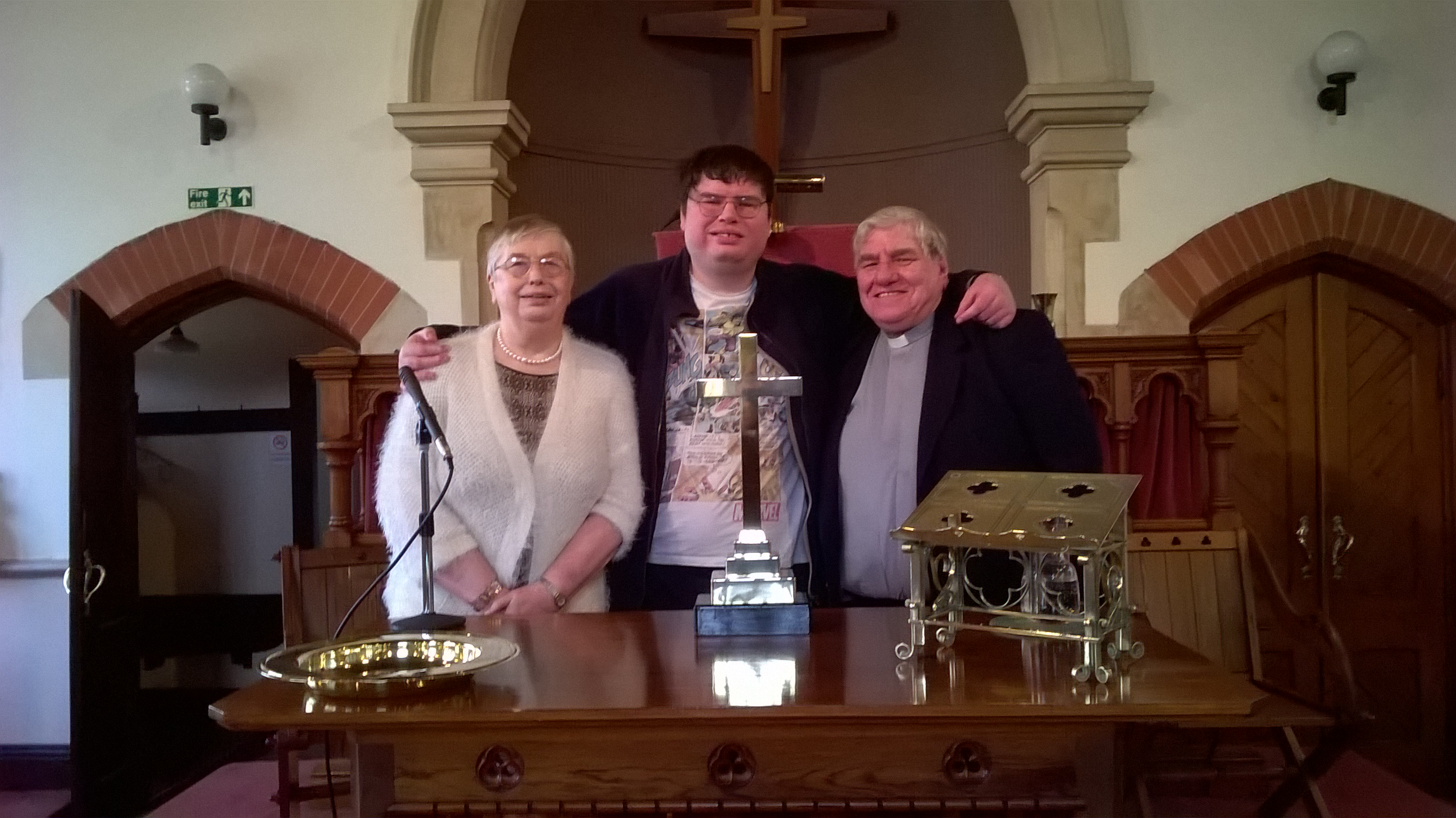 Ken Martin and family. Ken in minister of Malvern Link United Reformed Church