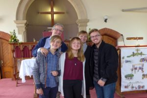The Korsgren family visiting Malvern Link URC Easter 2018